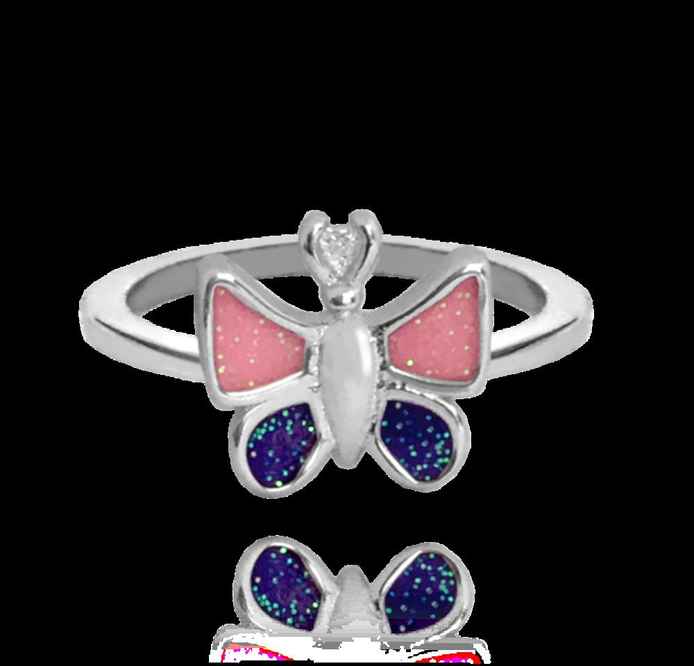 Třpytivý stříbrný prsten MINET MOTÝLEK vel. 48