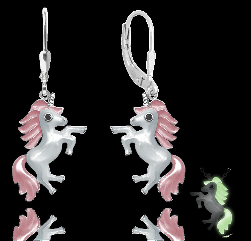 Svítící růžové stříbrné náušnice MINET JEDNOROŽCI