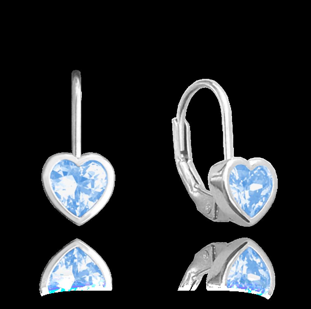 MINET Stříbrné náušnice MINET SRDÍČKA se světle modrými zirkony JMAD0015AE01