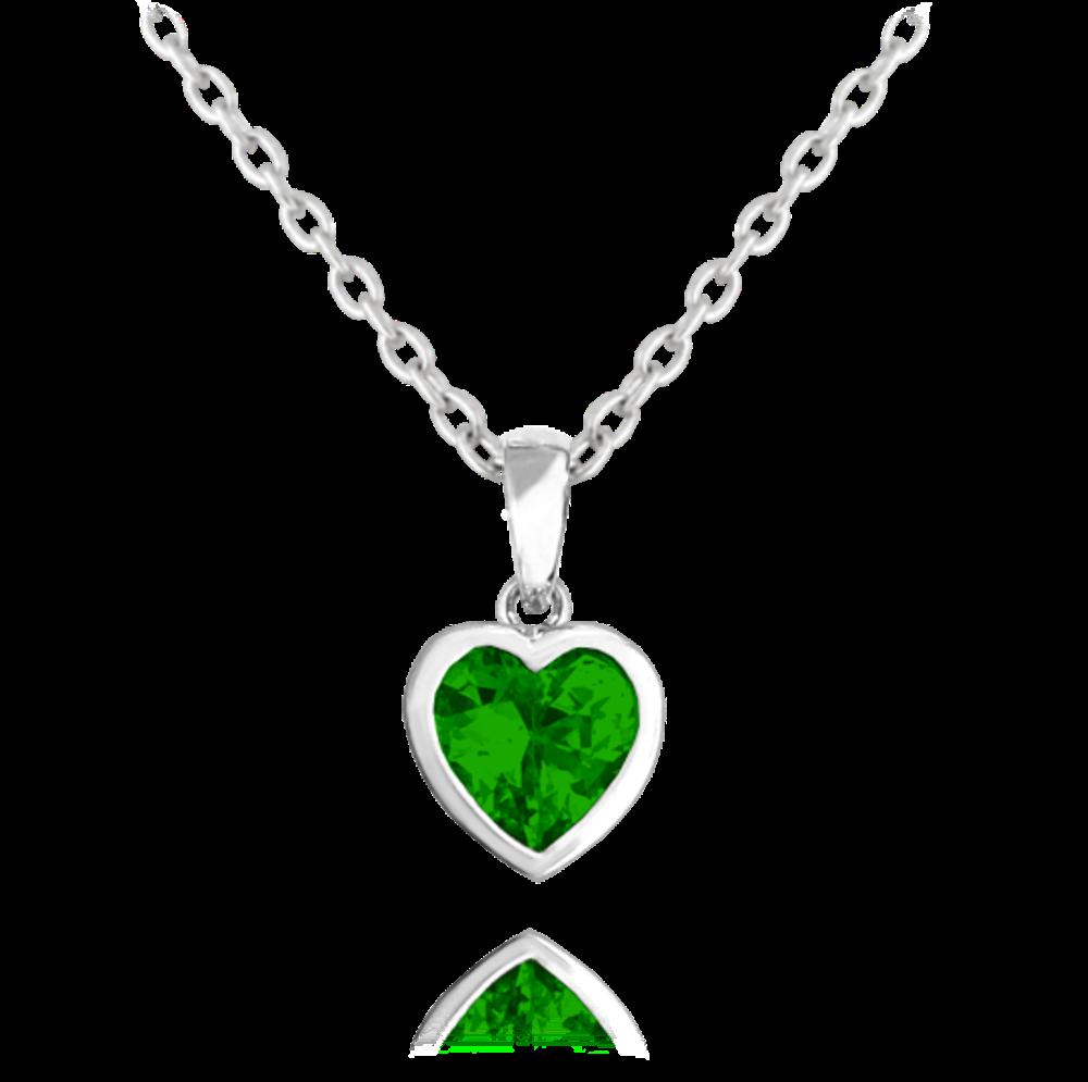 Stříbrný náhrdelník MINET SRDÍČKO se zelenými zirkonem