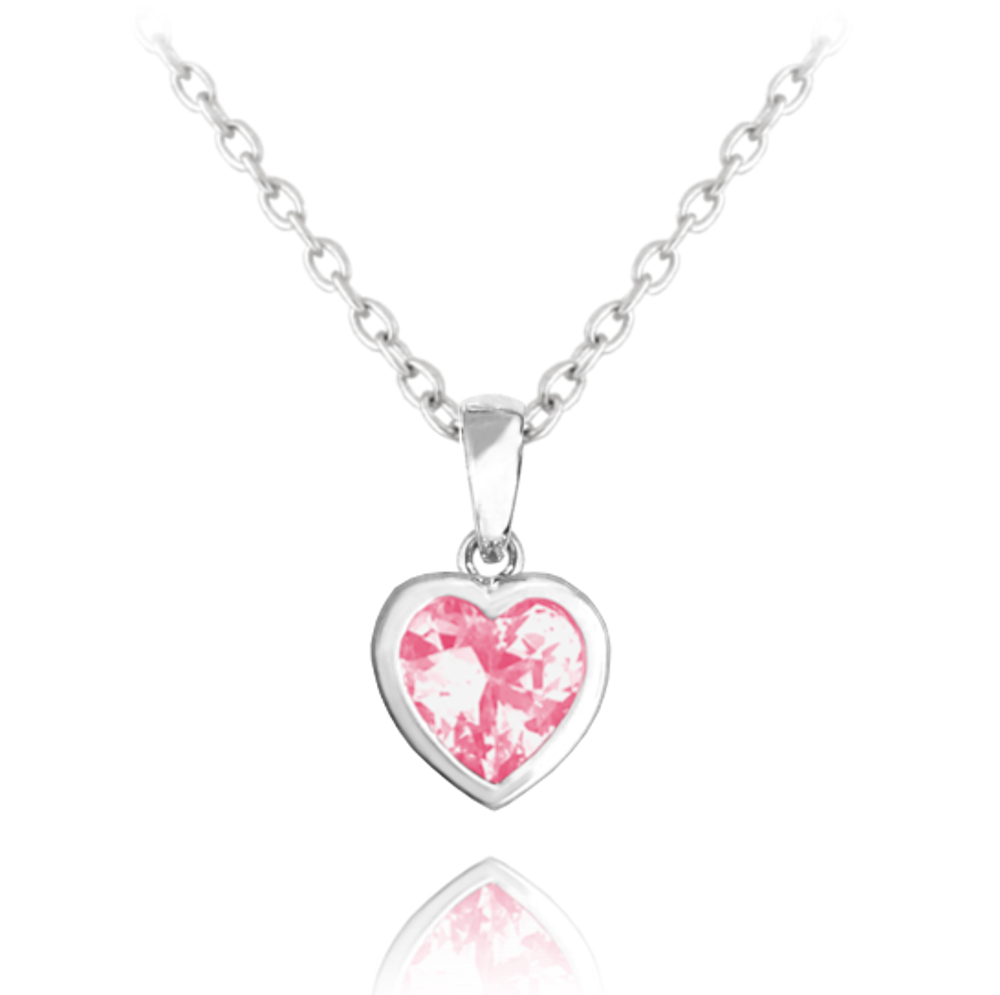 Stříbrný náhrdelník MINET SRDÍČKO s růžovým zirkonem