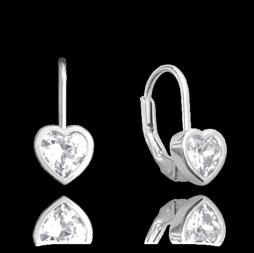 Stříbrné náušnice MINET SRDÍČKA s bílými zirkony