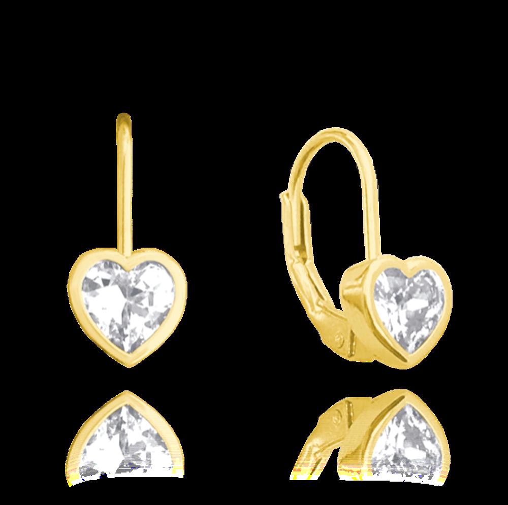 Pozlacené stříbrné náušnice MINET SRDÍČKA s bílými zirkony