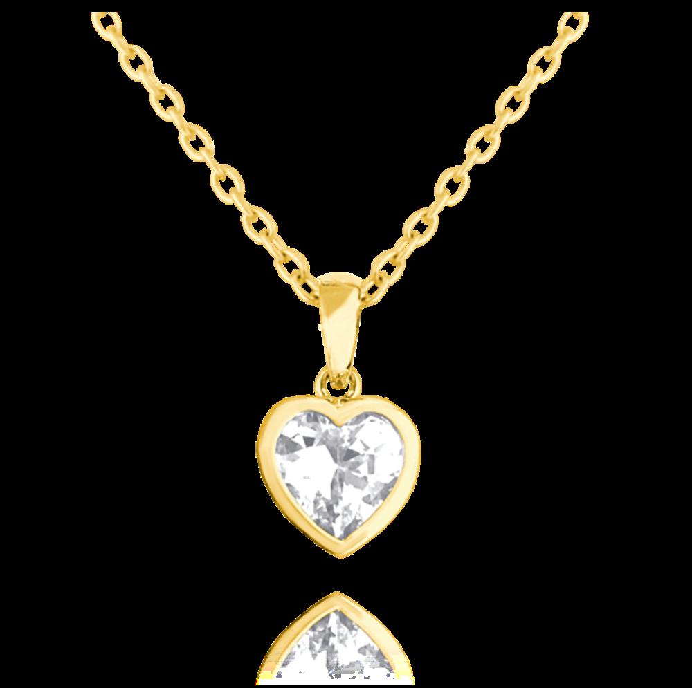 Pozlacený stříbrný náhrdelník MINET SRDÍČKA s bílým zirkonem