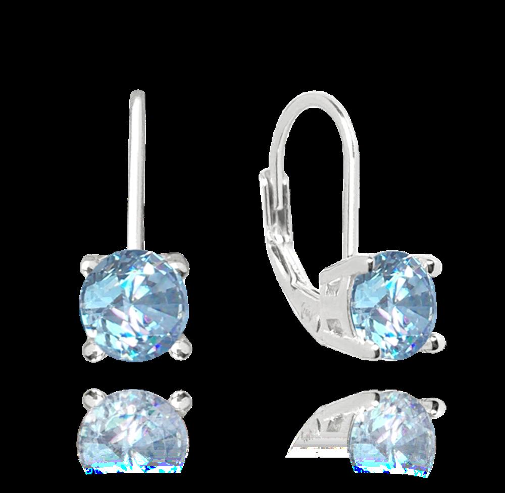 Stříbrné náušnice MINET s světle modrým zirkonem