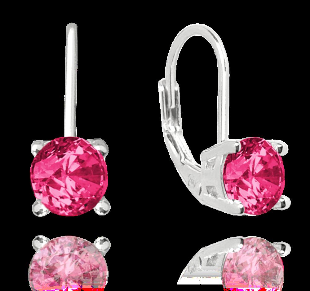 MINET Stříbrné náušnice MINET s tmavě růžovým zirkonem JMAD0022DE00