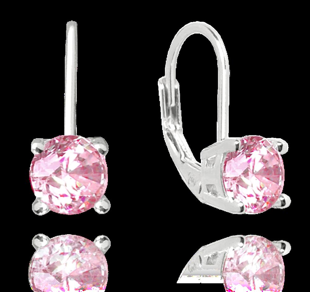 Stříbrné náušnice MINET s růžovým zirkonem