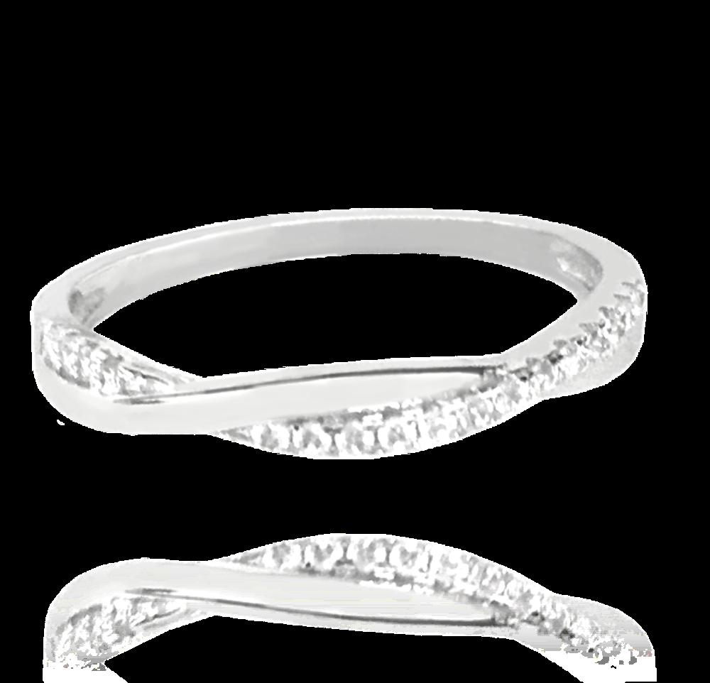 Stříbrný zapletený prsten MINET s bílými zirkony vel. 66