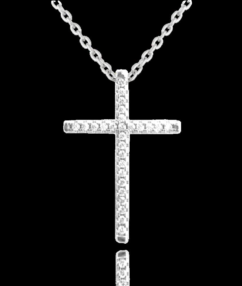 Stříbrný náhrdelník MINET KŘÍŽEK s bílými zirkony
