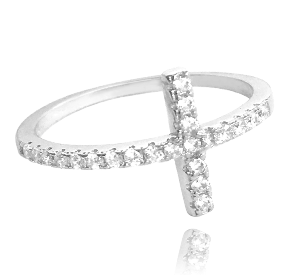 MINET Stříbrný prsten MINET KŘÍŽEK s bílými zirkony vel. 52 JMAN0005SR52