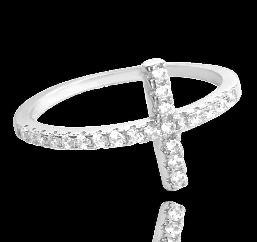 MINET Stříbrný prsten MINET KŘÍŽEK s bílými zirkony vel. 58 JMAN0005SR58