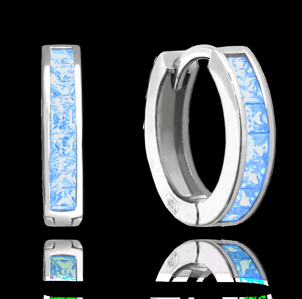 MINET Třpytivé stříbrné náušnice MINET s velkými světle modrými zirkony JMAN0025AE00