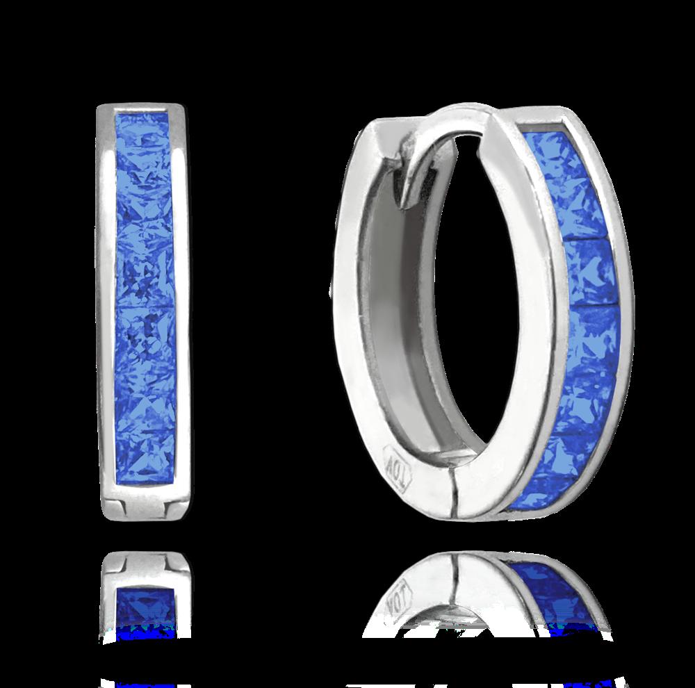 Třpytivé stříbrné náušnice MINET s velkými modrými zirkony