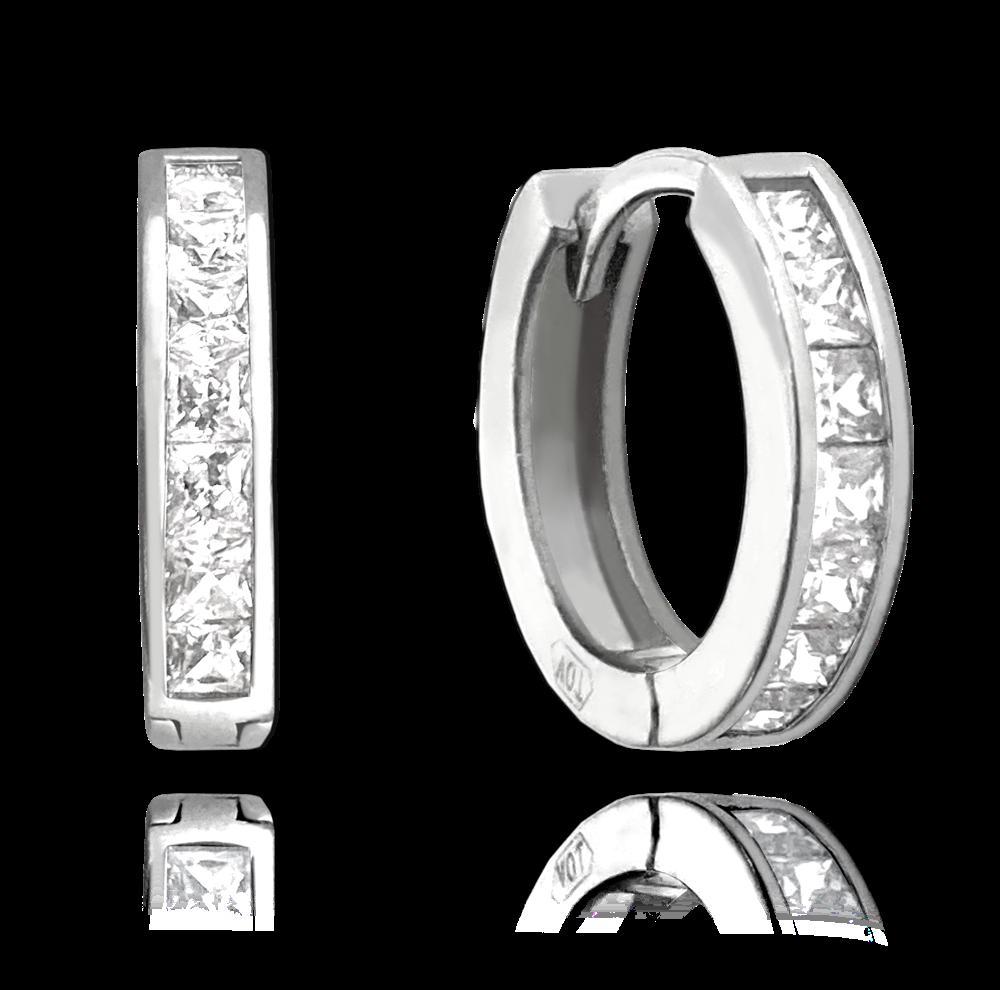 MINET Třpytivé stříbrné náušnice MINET s velkými bílými zirkony JMAN0025SE00