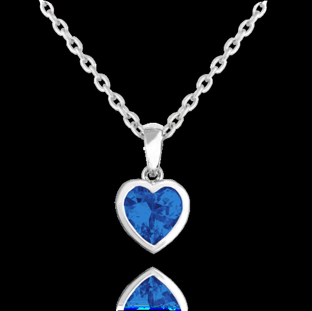 MINET Stříbrný náhrdelník MINET SRDÍČKO s tmavě modrým zirkonem JMAD0015BN40