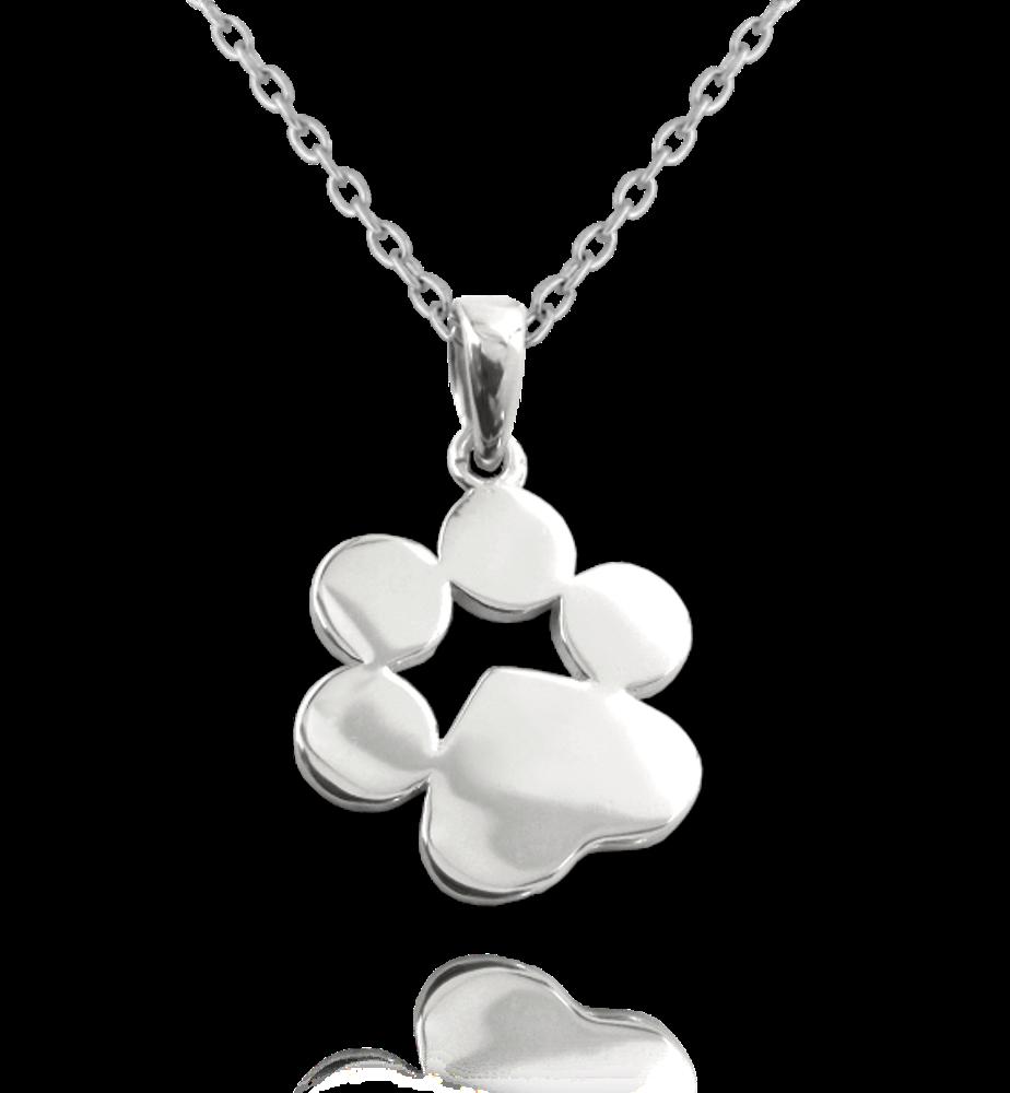 MINET Stříbrný náhrdelník MINET TLAPKA pro gravírování JMAN0027SN45