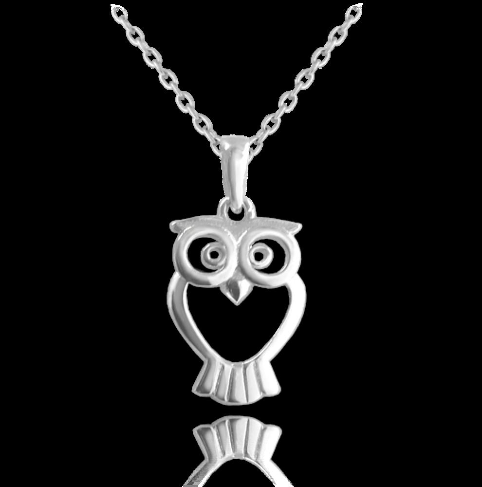 MINET Stříbrný náhrdelník MINET SOVIČKA JMAN0035SN45