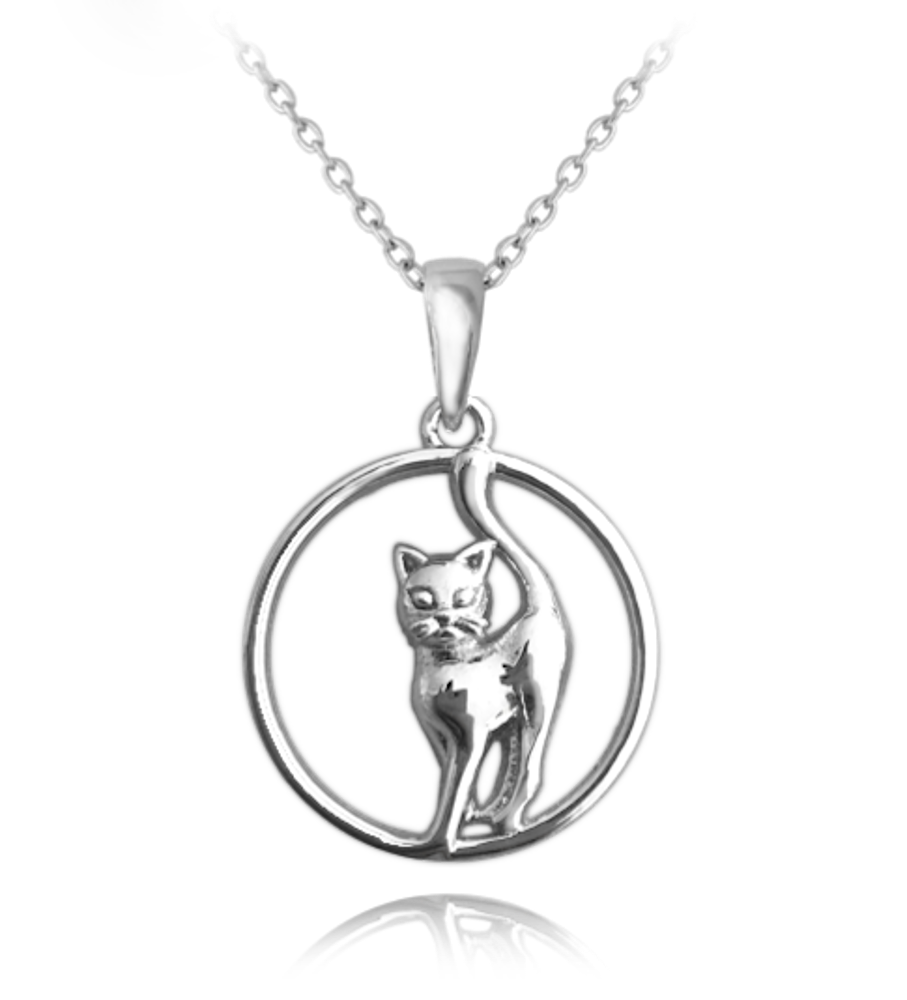 Stříbrný náhrdelník MINET KOČKA v kroužku