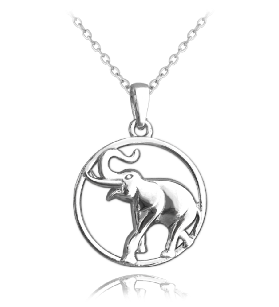 MINET Stříbrný náhrdelník MINET SLON v kroužku JMAN0036EN42