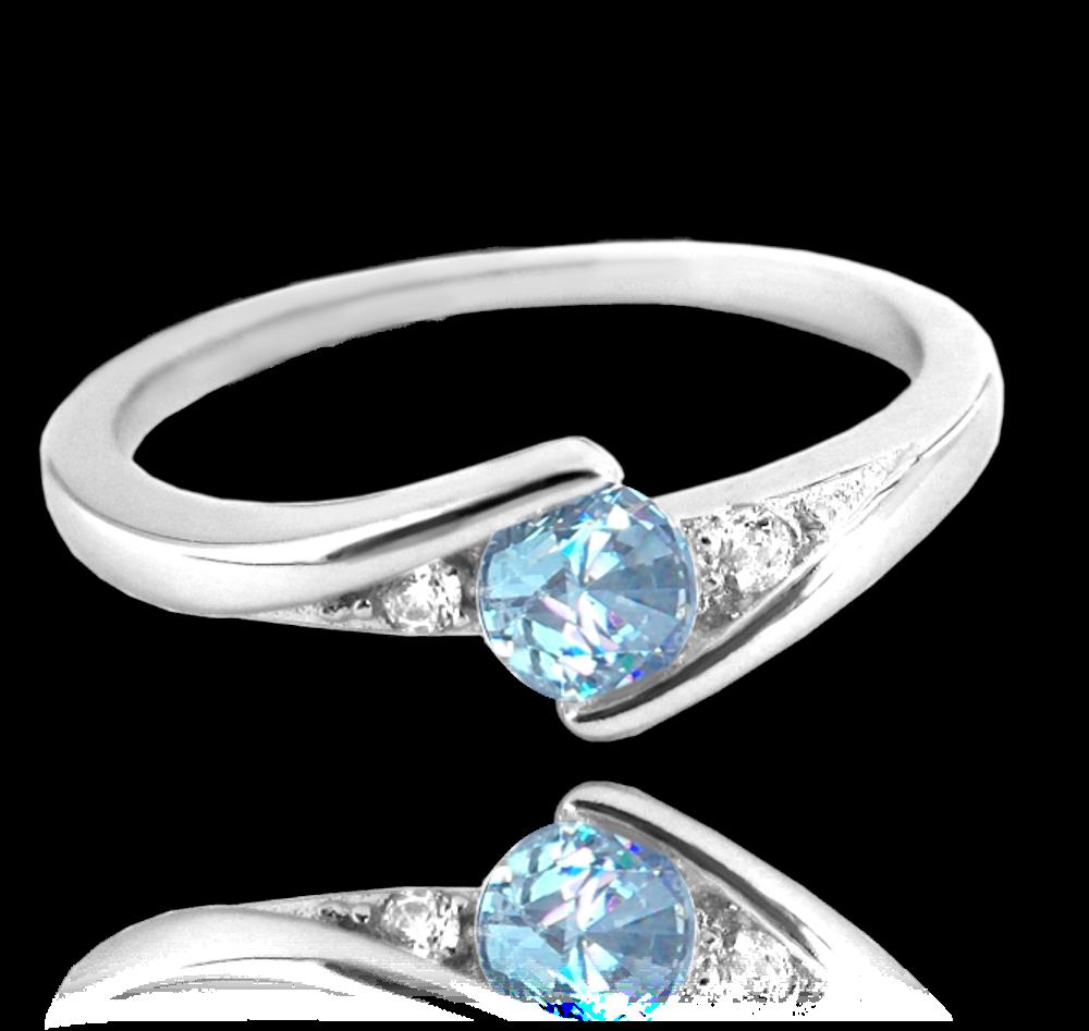 MINET Elegantní stříbrný prsten MINET s modrým zirkonem vel. 49 JMAN0046BR49