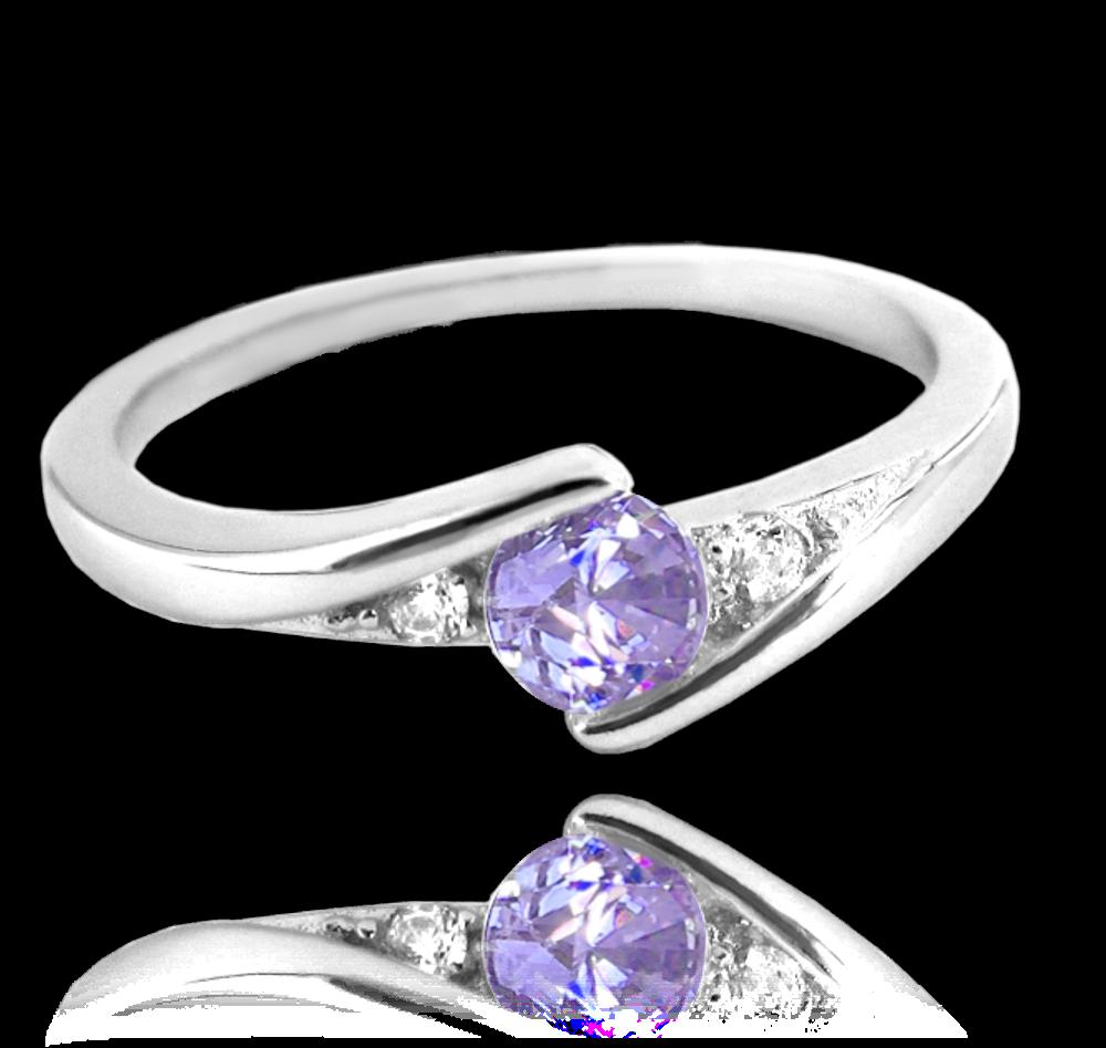MINET Elegantní stříbrný prsten MINET s fialovým zirkonem vel. 49 JMAN0046FR49