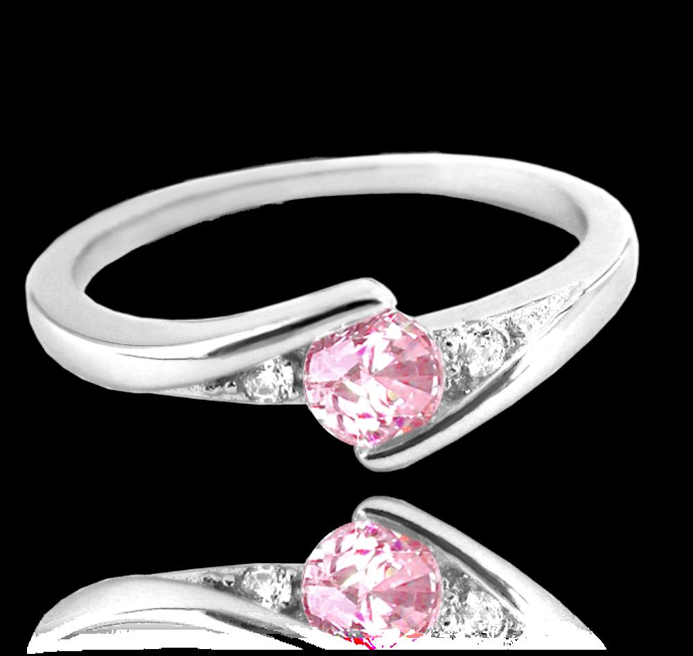 MINET Elegantní stříbrný prsten MINET s růžovým zirkonem vel. 47 JMAN0046PR47