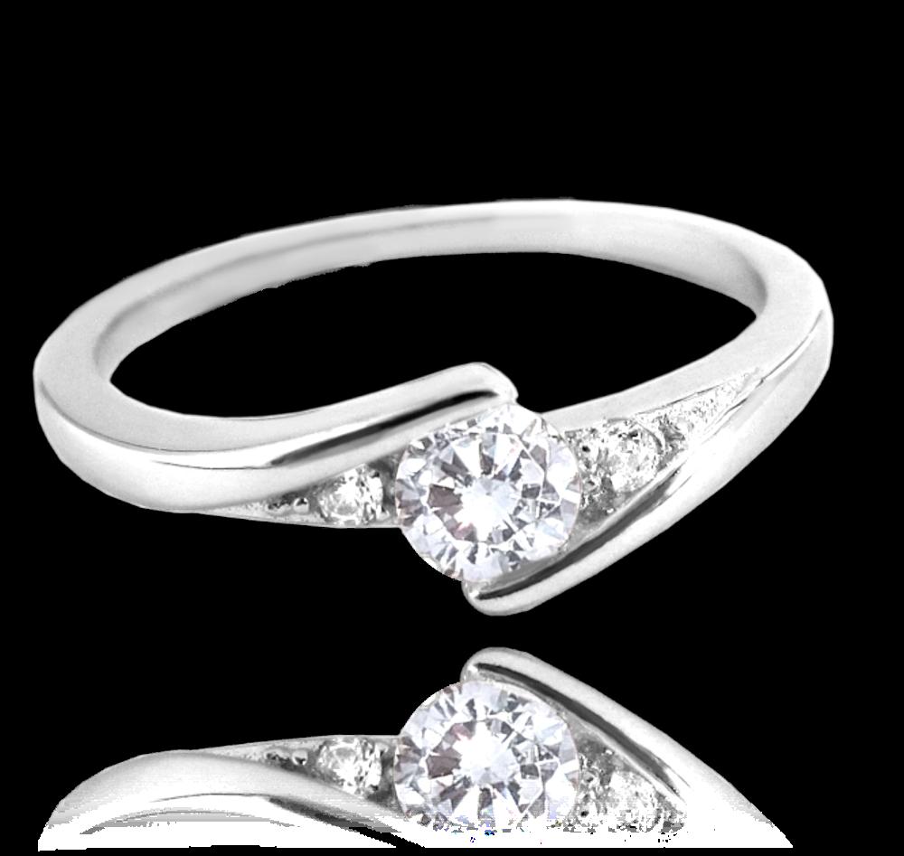 Elegantní stříbrný prsten MINET s bílými zirkony vel. 49