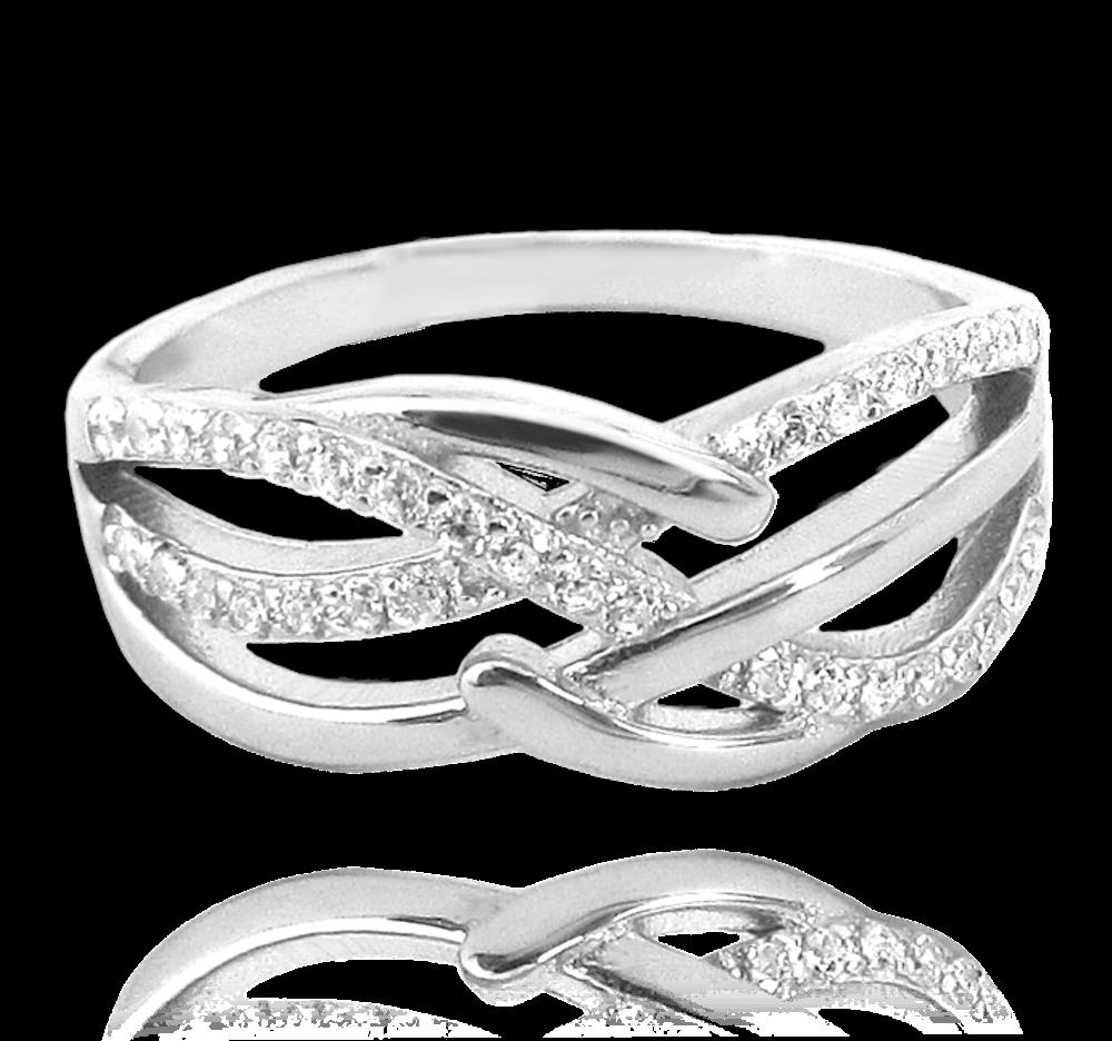 Luxusní stříbrný prsten MINET s bílými zirkony vel. 69