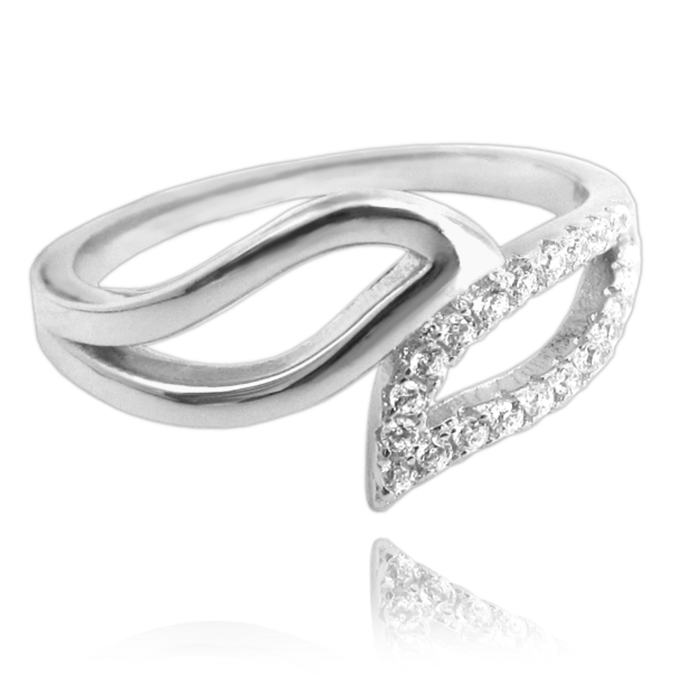 Stříbrný prsten MINET s bílými zirkony vel. 51