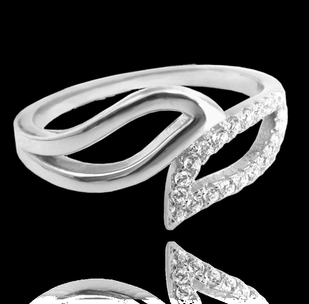 Stříbrný prsten MINET s bílými zirkony vel. 53