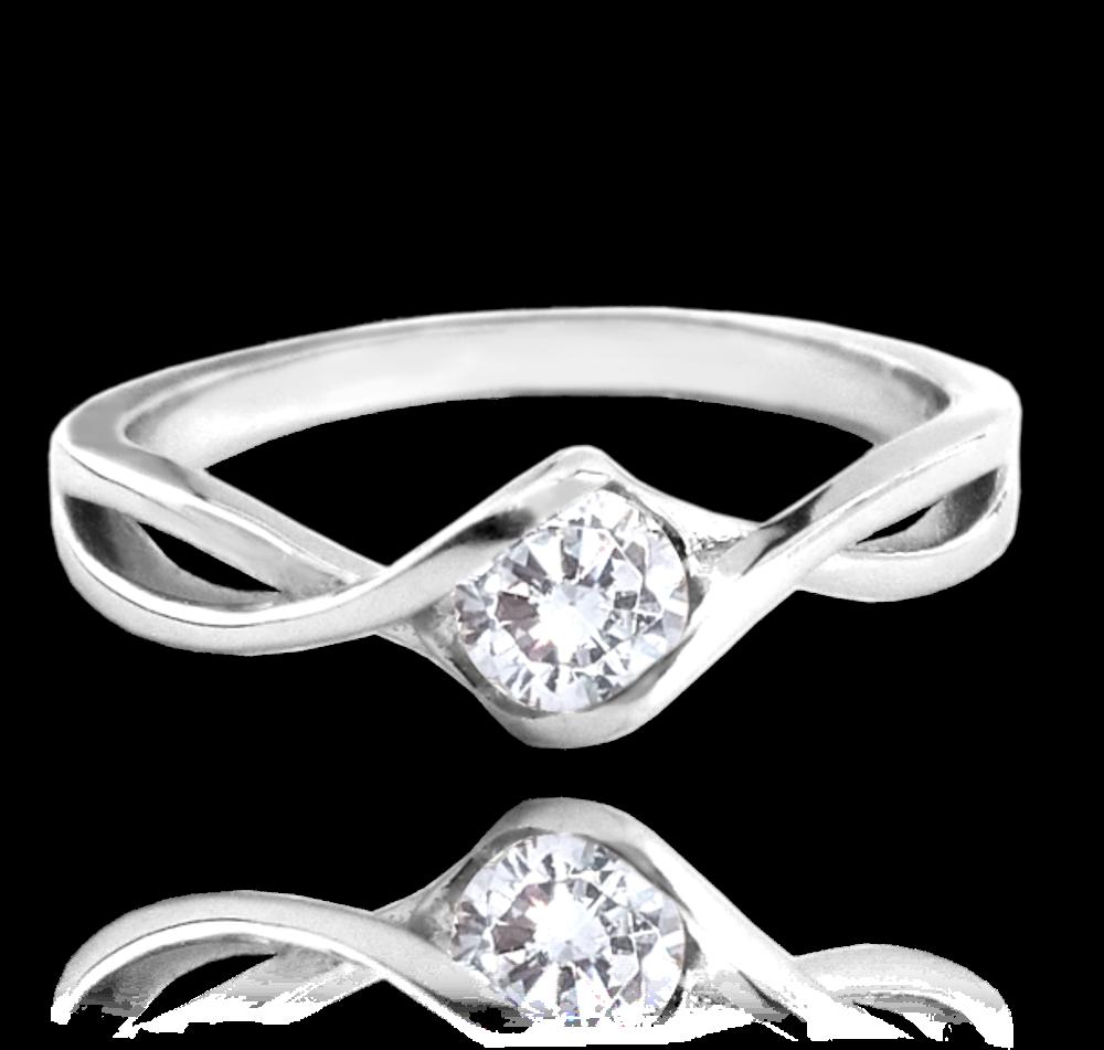 Stříbrný prsten MINET s bílým zirkonem vel. 52