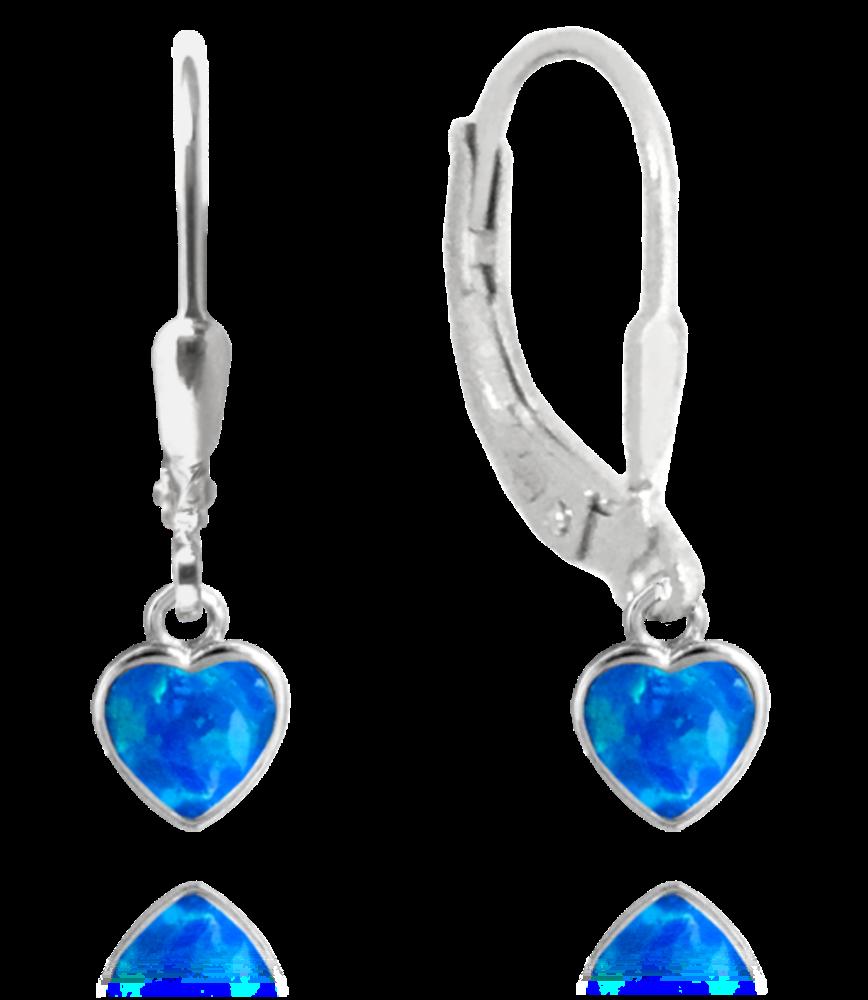 Stříbrné náušnice MINET SRDÍČKA s modrými opálky