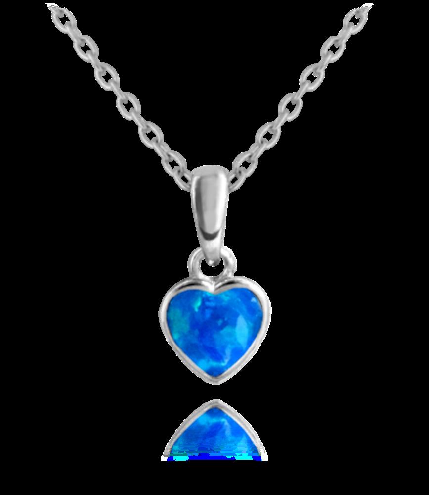 MINET Stříbrný náhrdelník MINET SRDÍČKO s modrým opálkem JMAN0054BN45