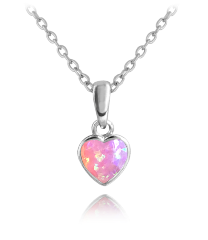 Stříbrný náhrdelník MINET SRDÍČKO s růžovým opálkem