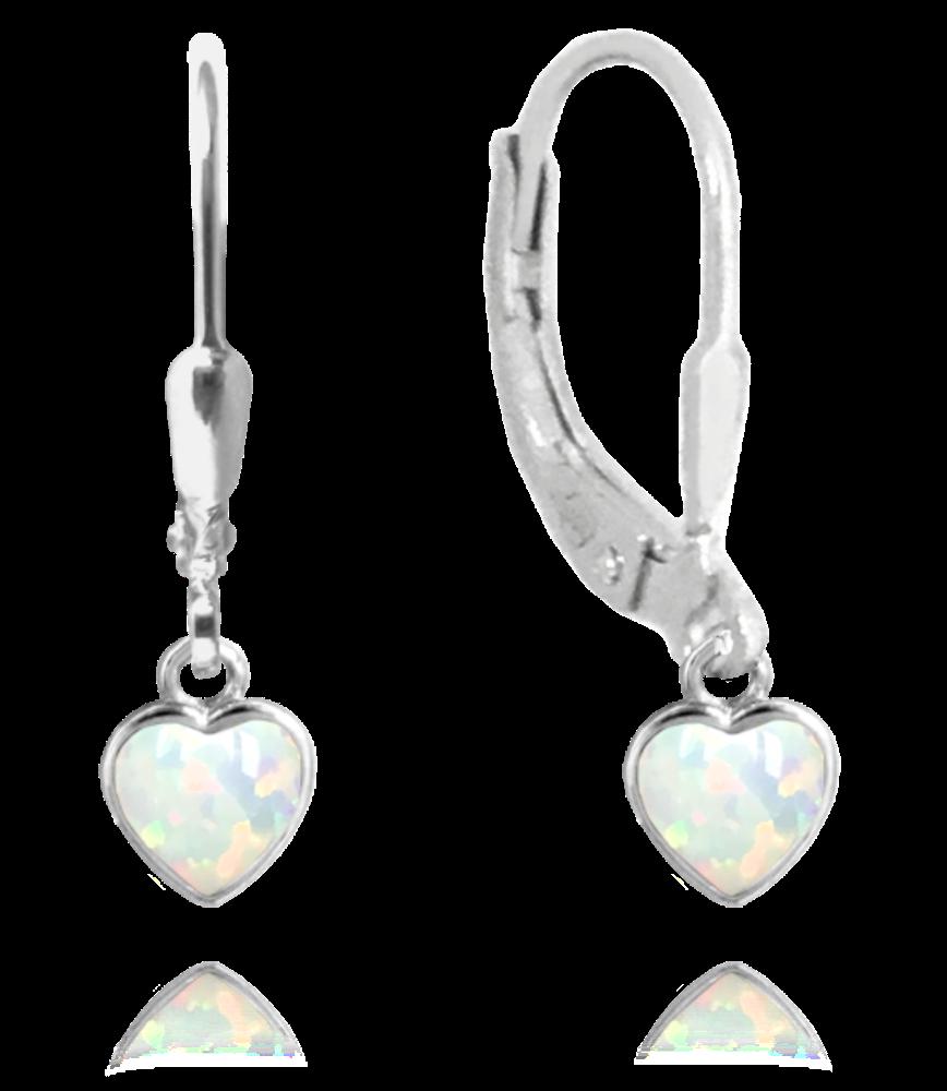 Stříbrné náušnice MINET SRDÍČKA s bílými opálky