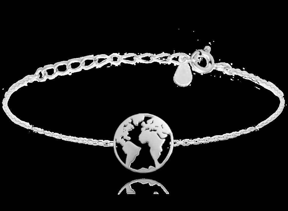 Cestovatelský stříbrný náramek MINET ZEMĚKOULE