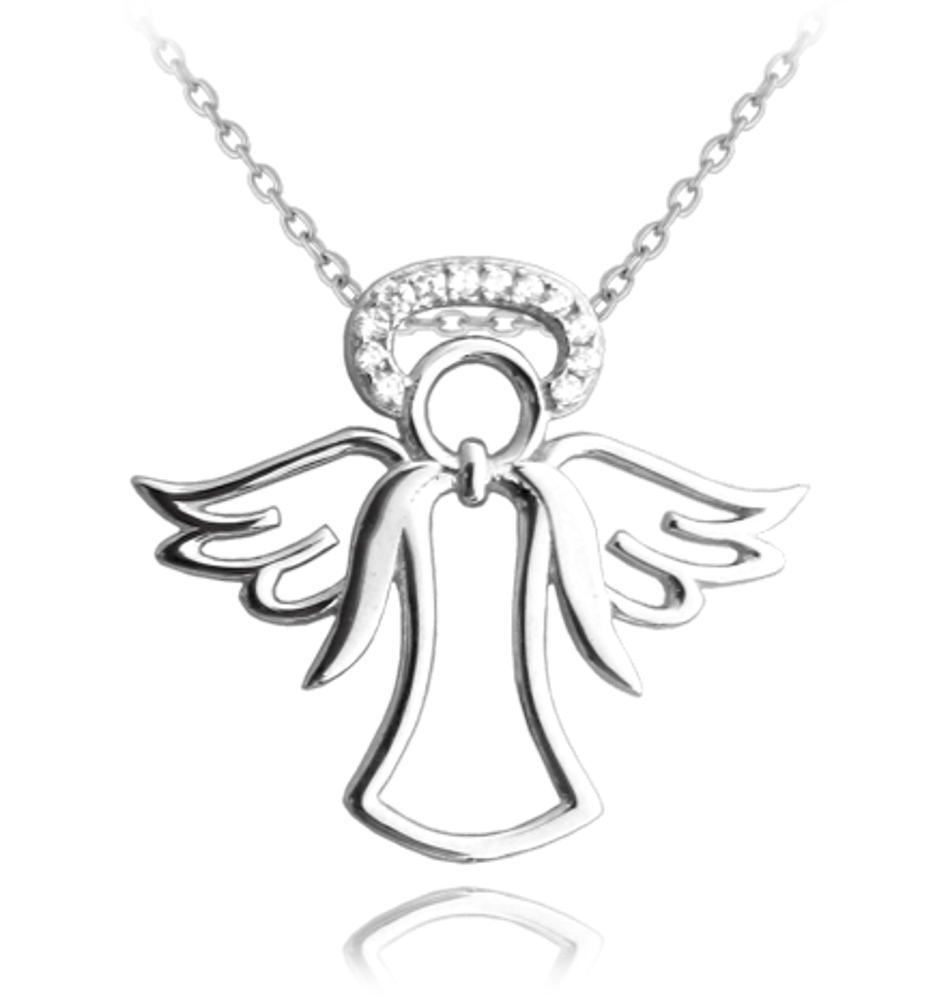 MINET Stříbrný náhrdelník MINET ANDĚL se svatozáří JMAN0069SN45