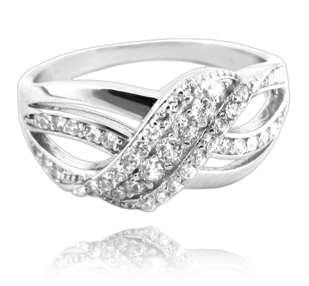 Luxusní stříbrný prsten MINET s bílými zirkony vel. 59