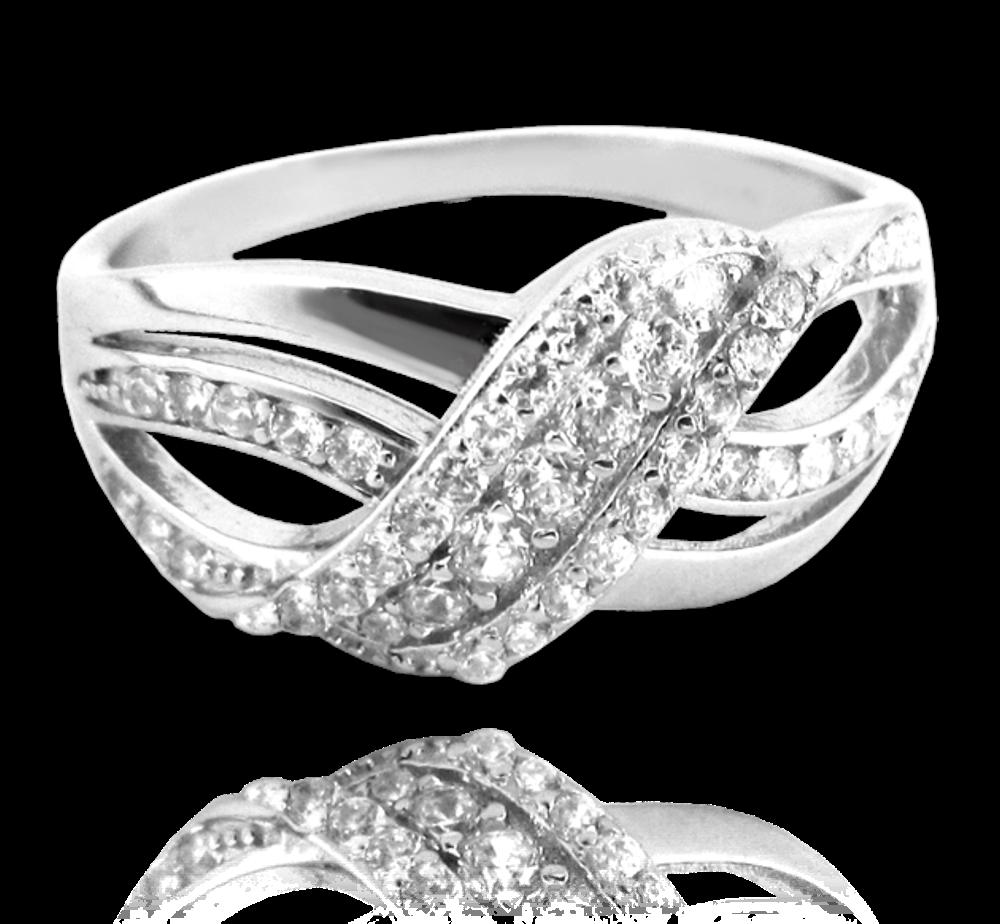 Luxusní stříbrný prsten MINET s bílými zirkony vel. 61