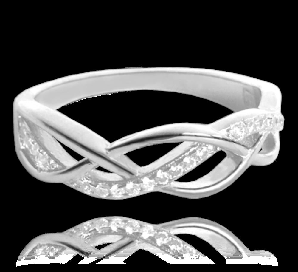Stříbrný propletený prsten MINET s bílými zirkony vel. 69