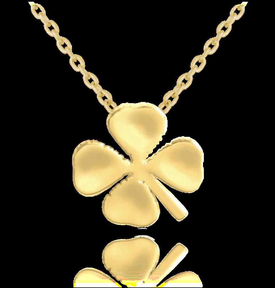 Pozlacený stříbrný náhrdelník MINET ČTYŘLÍSTEK
