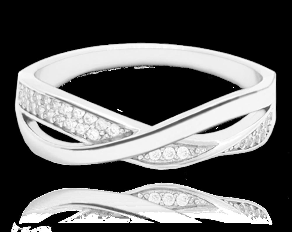 Překřížený stříbrný prsten MINET s bílými zirkony vel. 56