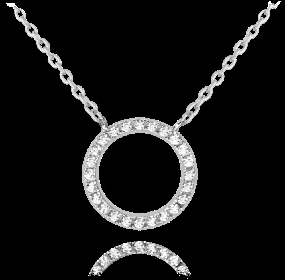 MINET Stříbrný náhrdelník MINET KROUŽEK s bílými zirkony JMAN0140SN45