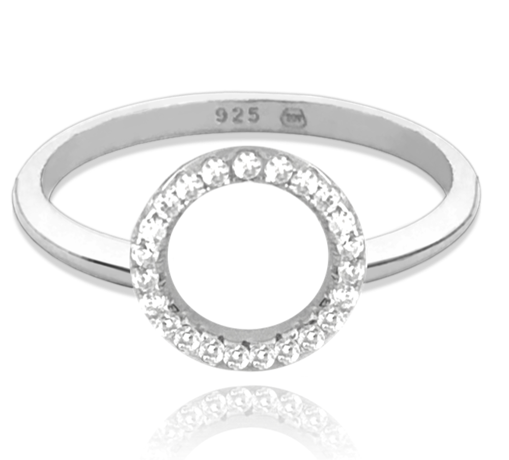 MINET Stříbrný prsten MINET KROUŽEK s bílými zirkony vel. 51 JMAN0140SR51