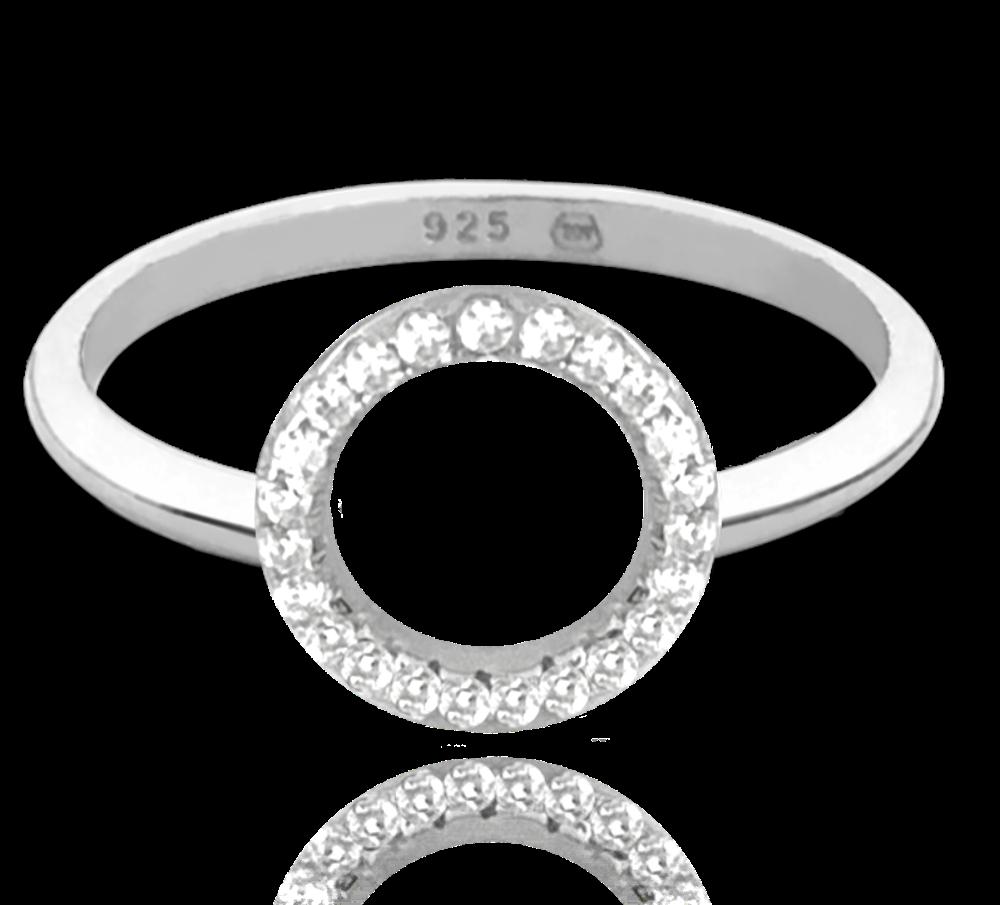 MINET Stříbrný prsten MINET KROUŽEK s bílými zirkony vel. 59 JMAN0140SR59