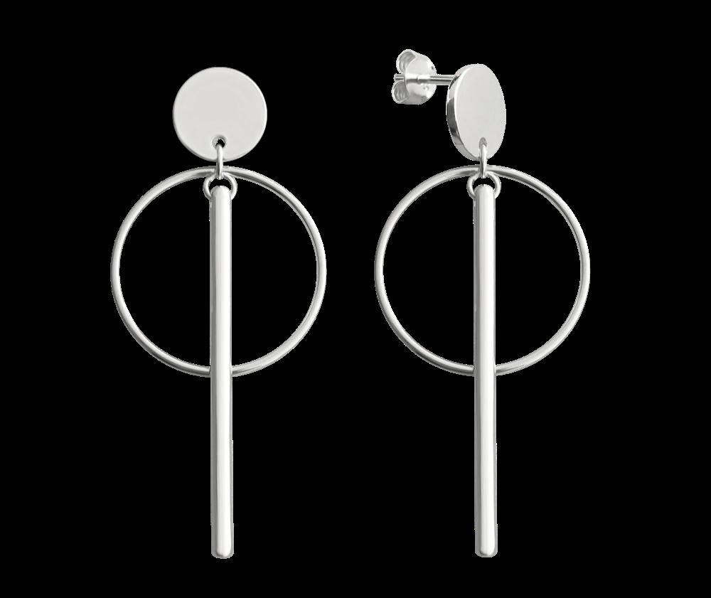 MINET Stříbrné kruhové náušnice MINET s tyčkami JMAS0098SE00
