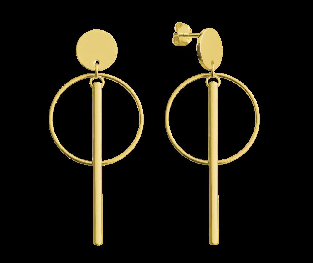 Pozlacené stříbrné kruhové náušnice MINET s tyčkami