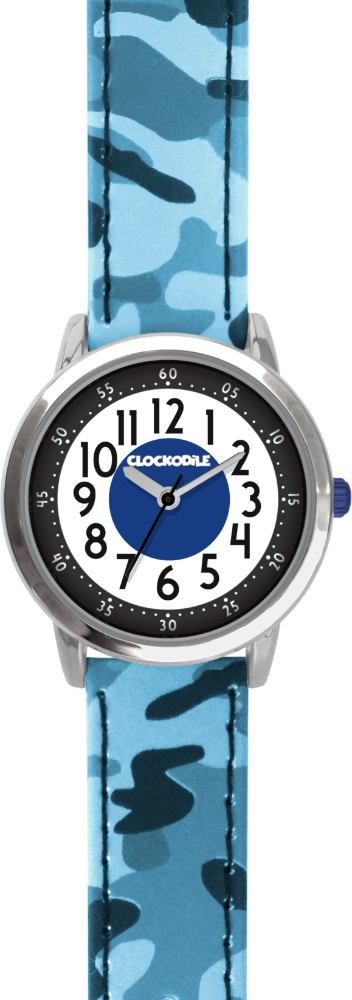 Svítící modré chlapecké dětské hodinky CLOCKODILE ARMY s maskáčovým vzorem