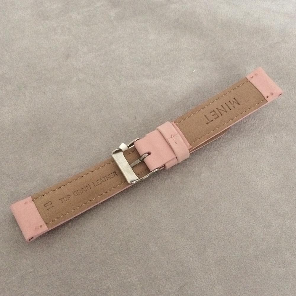 Růžový prošitý kožený řemínek MINET z jemného nubuku - 20