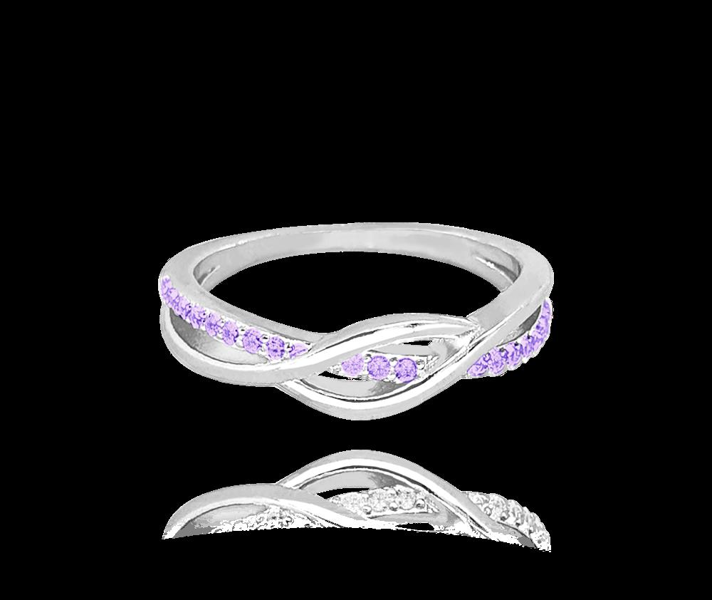 Stříbrný propletený prsten MINET s fialovými zirkony vel. 57